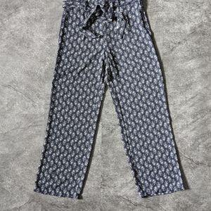 NAF NAF Paris Navy wide leg high waist cropped trousers